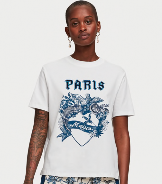 Wit T-shirt Maison Scotch Paris artwork