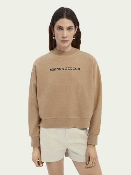 Beige gebreide sweater artworks Maison Scotch